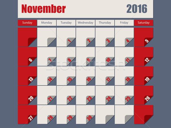 Gray Red colored 2016 november calendar Stock photo © vipervxw