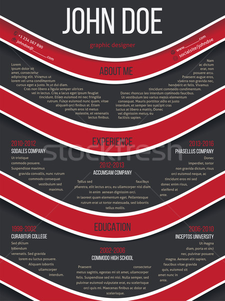Modern resume cv template with red waves Stock photo © vipervxw