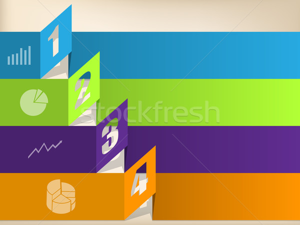 Infographic design with color origami shapes Stock photo © vipervxw