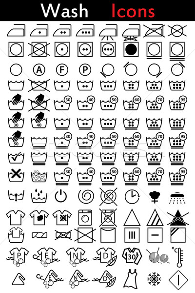 Washing instruction icons Stock photo © vipervxw