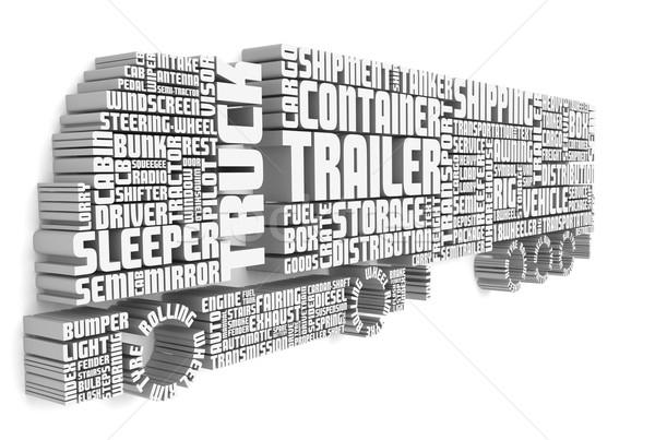 3d words shaping a truck with trailer front view Stock photo © vipervxw