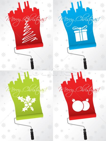 Shifty christmas greeting card set Stock photo © vipervxw