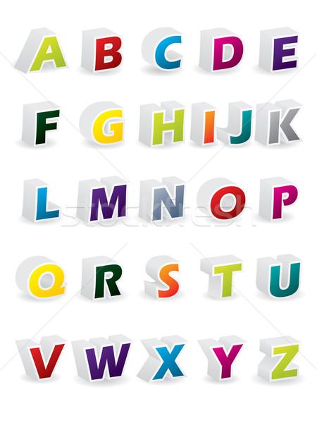 Renkli 3D alfabe gölgeler müzik çocuklar Stok fotoğraf © vipervxw