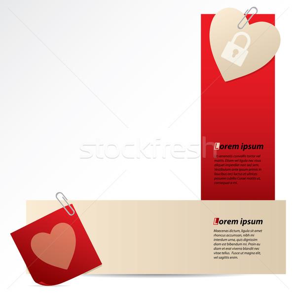 Banners schrijfpapier hart bevestigd witte papier Stockfoto © vipervxw