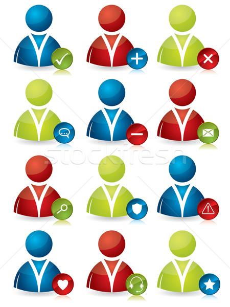Emberek ikonok tulajdonságok különböző színes társasági Stock fotó © vipervxw
