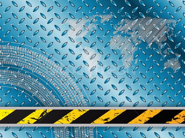 Ipari kék autógumi csíkos textúra fém Stock fotó © vipervxw