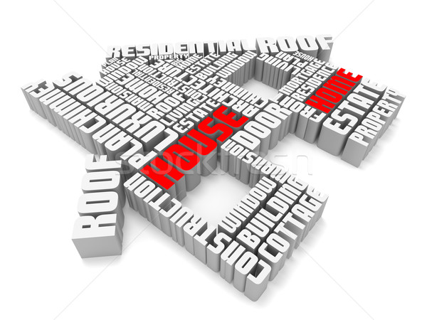 3d group of red white words shaping a house Stock photo © vipervxw