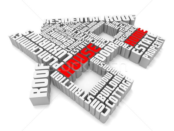3D csoport piros fehér szavak ház Stock fotó © vipervxw