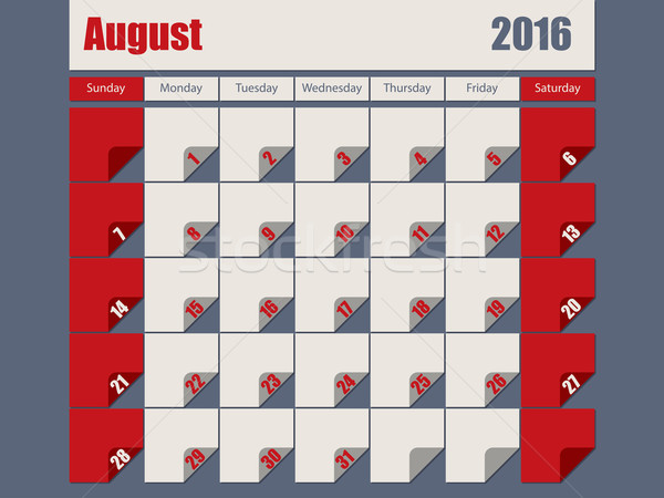 Gray Red colored 2016 august calendar Stock photo © vipervxw