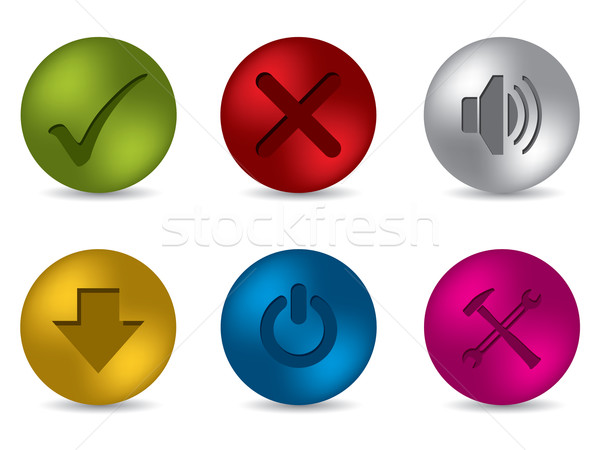 Cool 3d matte button set Stock photo © vipervxw