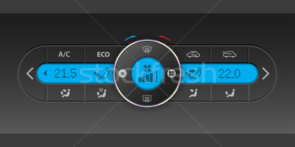 Digital air condition dashboard design with blue lcd Stock photo © vipervxw