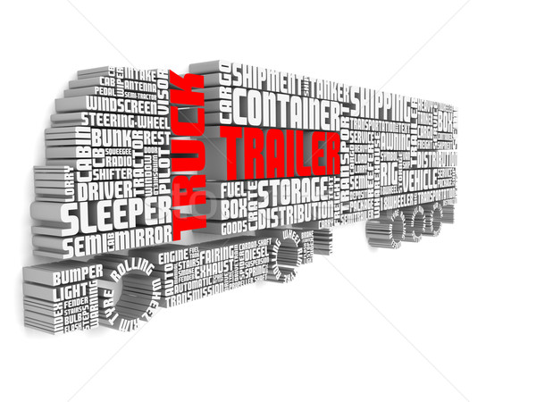 3d words shaping a truck with trailer and shadows on wall Stock photo © vipervxw