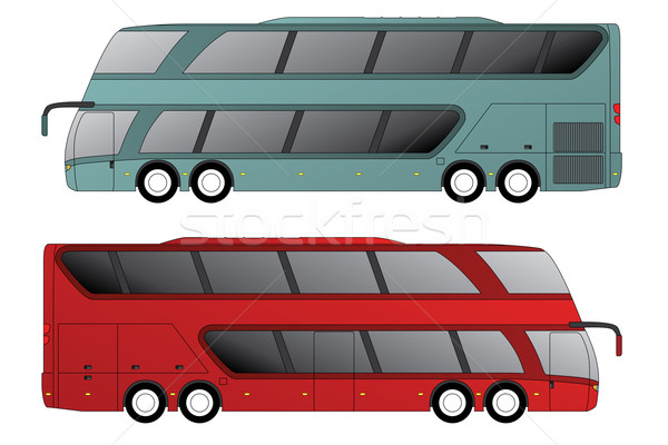 Double decker bus with double axle in front and rear Stock photo © vipervxw