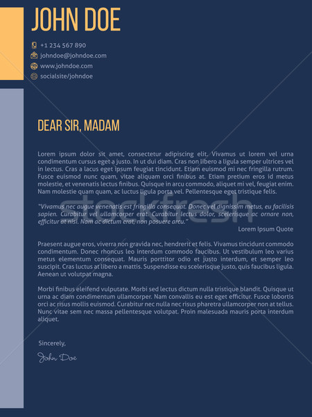 Simplistic cover letter cv resume template design in dark blue Stock photo © vipervxw