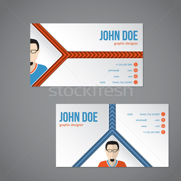 Blue orange color business card with arrow stripes Stock photo © vipervxw