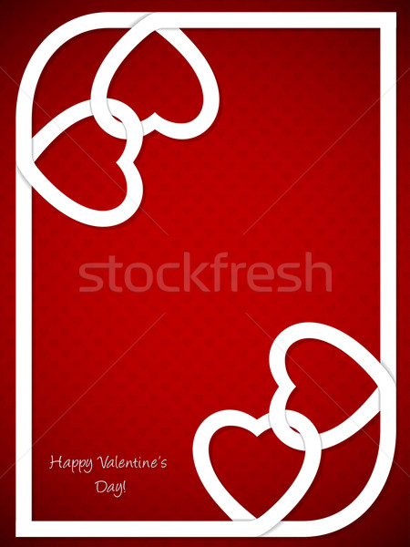Valentine's day greeting with white heart shaped ribbon Stock photo © vipervxw