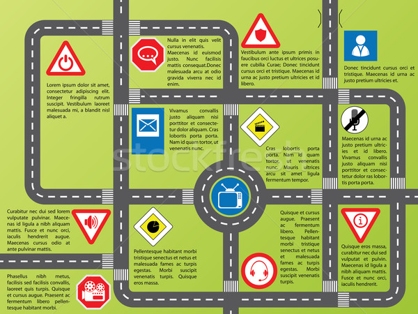Info graphic with roads and stylish signs Stock photo © vipervxw