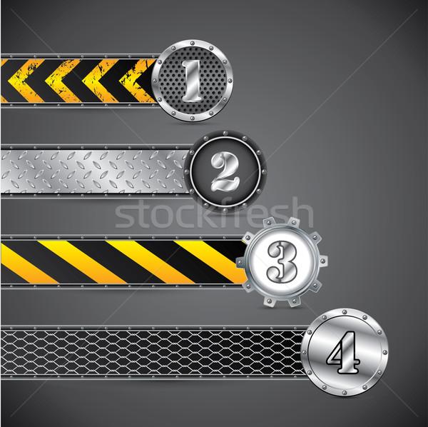 Metallic industrial gradation labels Stock photo © vipervxw