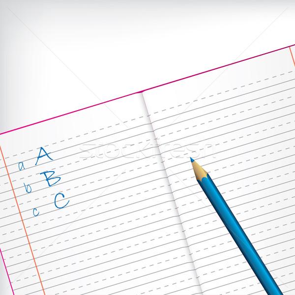 First grade copybook with pencil Stock photo © vipervxw