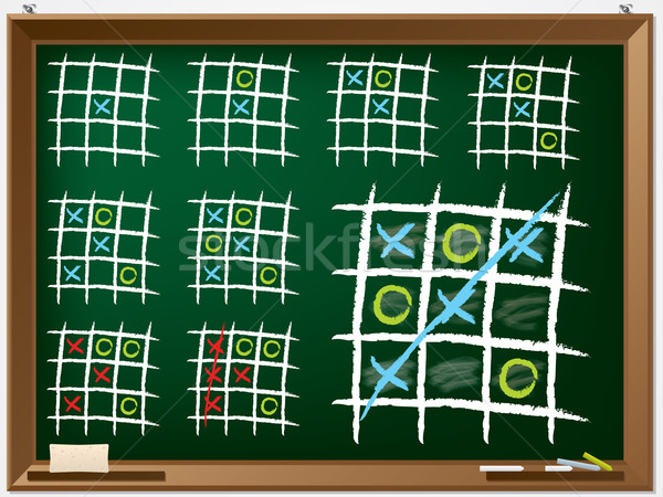 Tic tac toe variations on chalkboard Stock photo © vipervxw