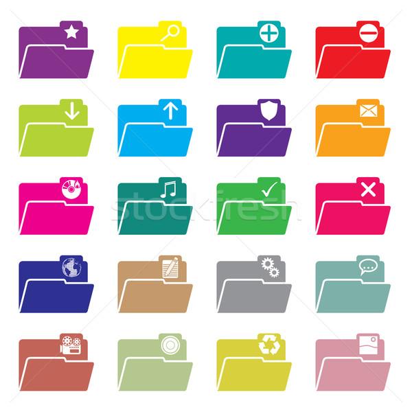 Flat folder icon set of 20 Stock photo © vipervxw
