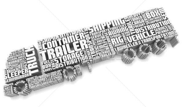 3d words shaping a truck with trailer aerial view Stock photo © vipervxw