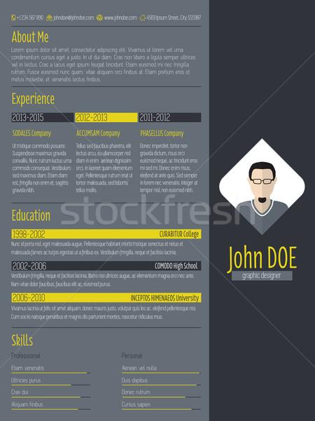 Modern curriculum vitae resume with dark background Stock photo © vipervxw