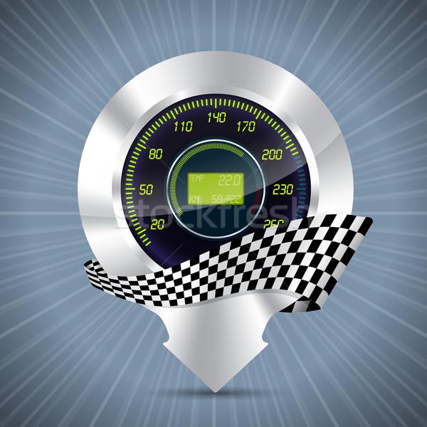 Hideg sebességmérő verseny zászló fémes autó Stock fotó © vipervxw