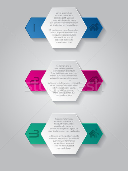 Infographics background with house icons and hexagon elements Stock photo © vipervxw