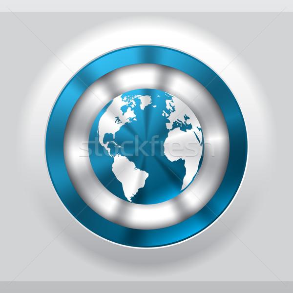 Cool metalen knop Blauw wereldbol wereld Stockfoto © vipervxw