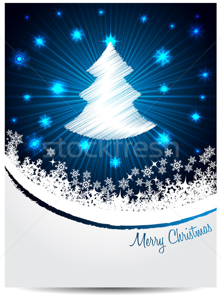 Blue white christmas greeting with bursting scribbled christmast Stock photo © vipervxw