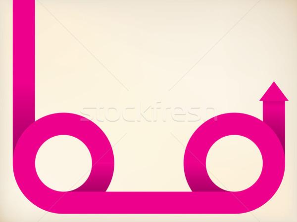 Curving pink arrow shaped ribbon Stock photo © vipervxw