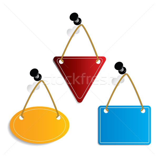 Label set hanging on push-pins Stock photo © vipervxw