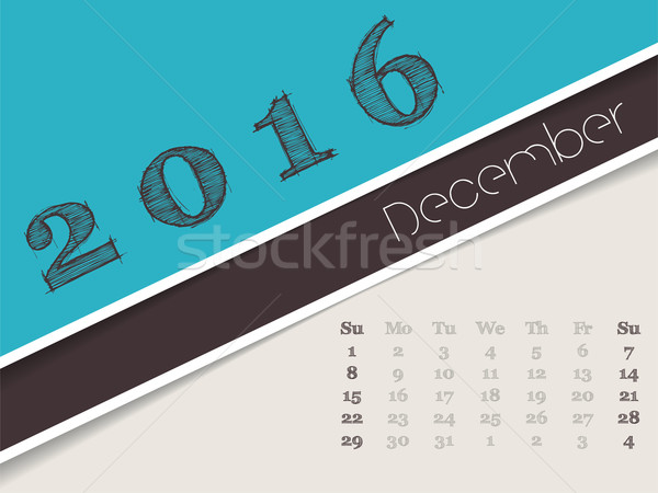 Simplistic december 2016 calendar design Stock photo © vipervxw