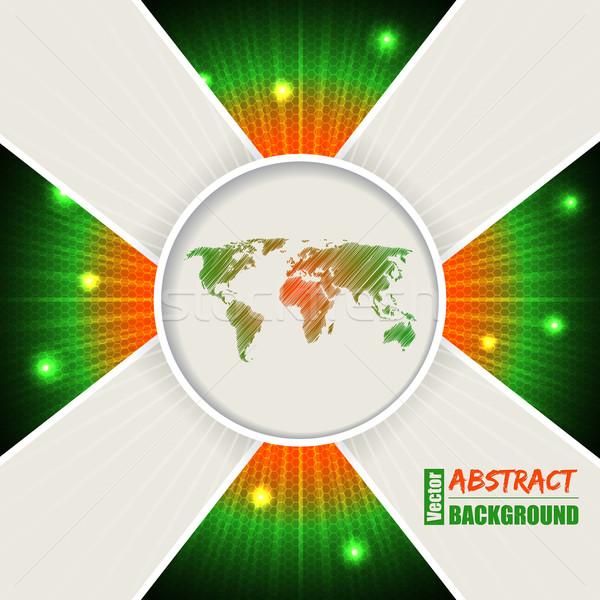 Abstract arancione verde mappa del mondo design business Foto d'archivio © vipervxw