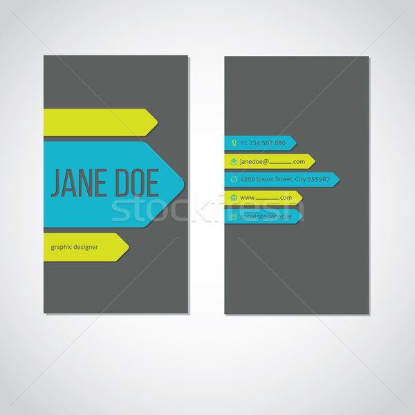 Cool portrait business card with color arrows Stock photo © vipervxw
