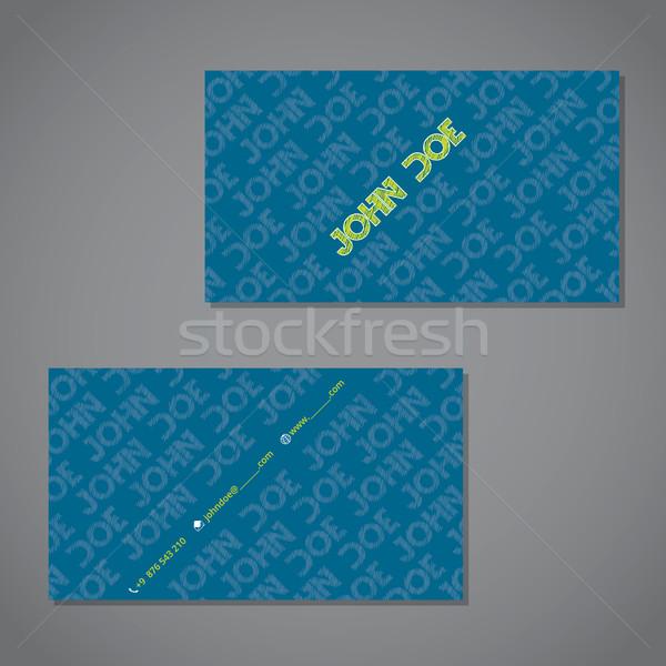 Texte carte de visite bleu vert design couleur Photo stock © vipervxw