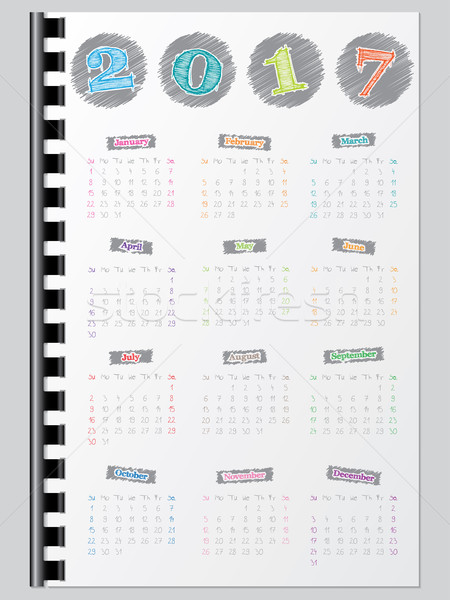 Colorful calendar with scribbled color elements for year 2017 Stock photo © vipervxw