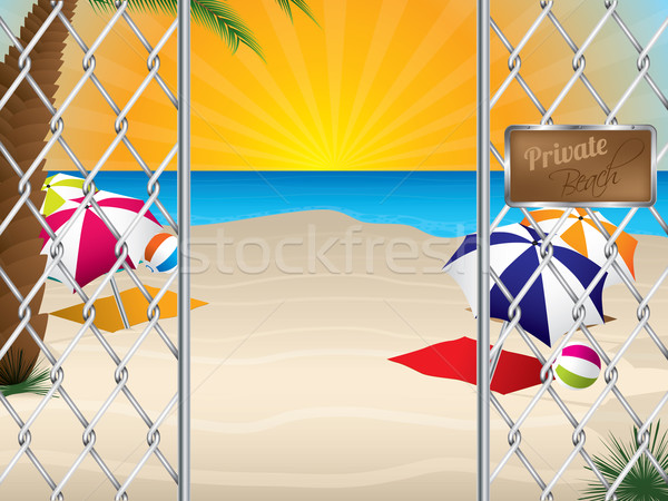 Private beach entrance with wired fence Stock photo © vipervxw
