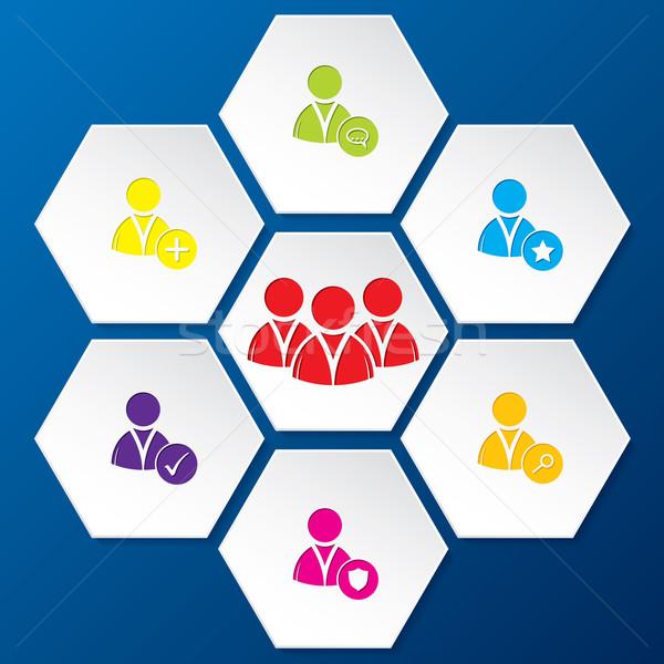 Social network icon set in hexagon shapes Stock photo © vipervxw