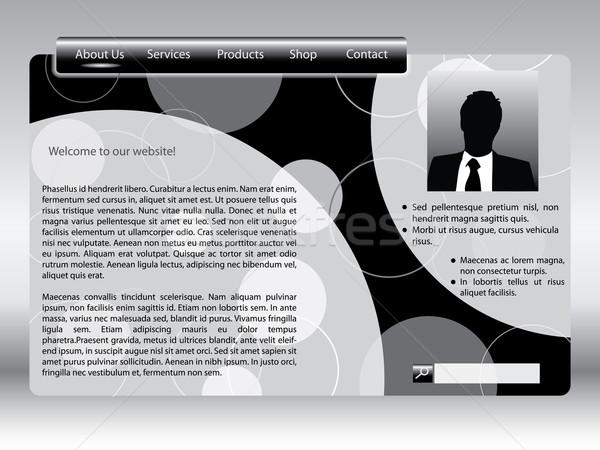 Black and white web template Stock photo © vipervxw