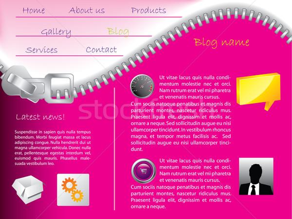 Cipzár weboldal sablon rózsaszín terv fémes Stock fotó © vipervxw