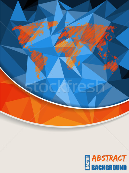 Abstract Blauw brochure wereldkaart oranje streep Stockfoto © vipervxw