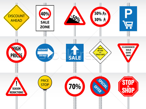 Shopping discounts inspired by traffic signs Stock photo © vipervxw
