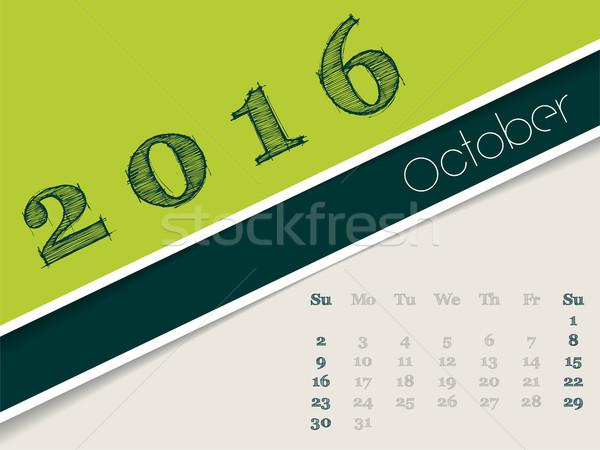 Simplistic october 2016 calendar design Stock photo © vipervxw
