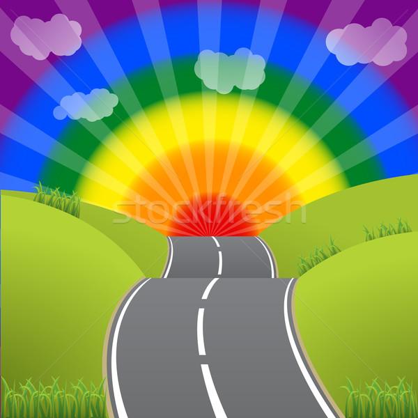 Estrada homossexual lésbica céu pôr do sol Foto stock © vipervxw