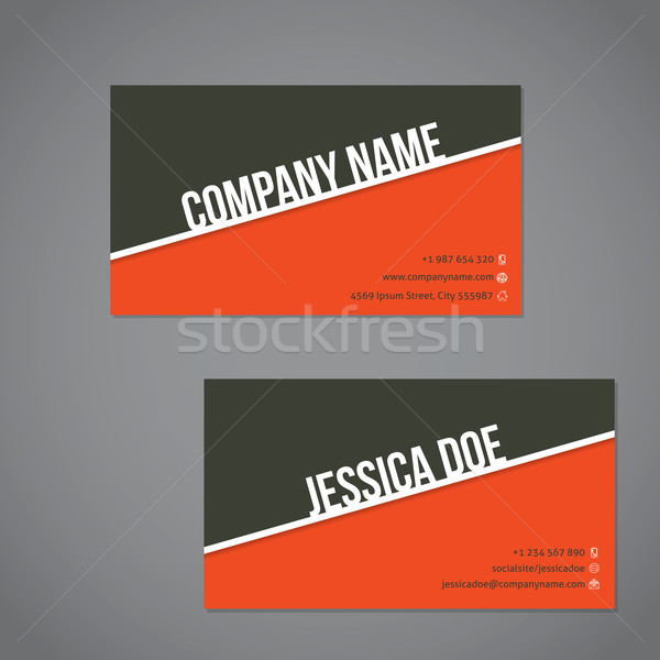 Gray-green  and orange color business card with white stripe Stock photo © vipervxw