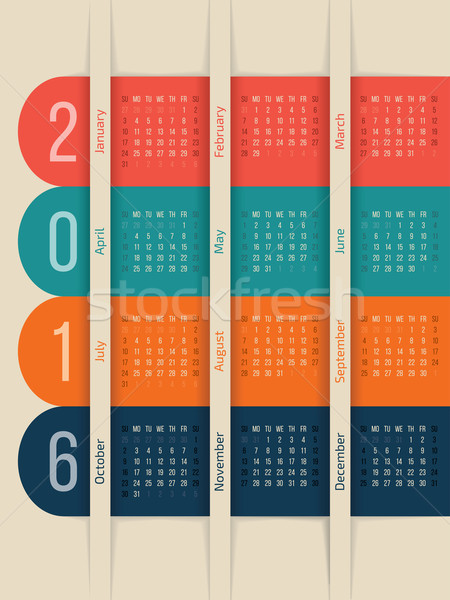 New calendar with color ribbons for year 2016 Stock photo © vipervxw