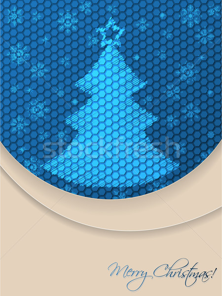 Blue christmas greeting card with scribbled tree and hexagon bac Stock photo © vipervxw