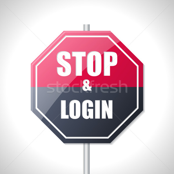 Stop and login bicolor traffic sign Stock photo © vipervxw